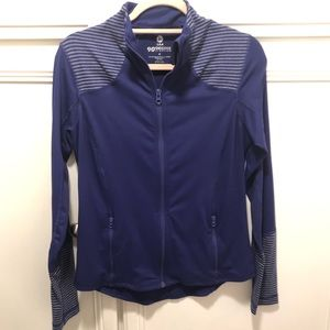 Purple and Grey Strip Athletic Zip-Up